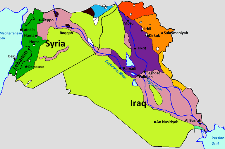 Syria & Iraq language map